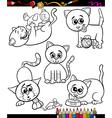 cats set cartoon coloring book vector image