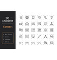 30 contact line icons vector image