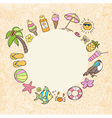 Summer decorative round banner vector image