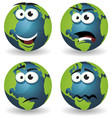 cartoon earth icons emotions vector image