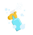 hand in glove with the spray bottle vector image