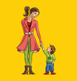 Mom holding hands with son vector image