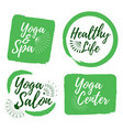 set of yoga club and healthy lifestyle badges vector image