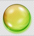 transparent yellow and green sphere with shadow vector image