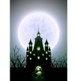 Halloween full moon and haunted castle vector