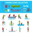 Fishing Flat Icons 2 Banners Set vector image
