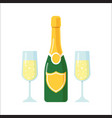 bottle of champagne and glasses vector image