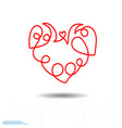 curly heart curl red spring vector image
