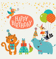 Cute jungle animals happy birthday card vector image