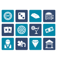 Flat casino and gambling icons vector image