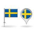 Swedish pin icon and map pointer flag vector image