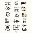 valentine39s day typographic designs vector image