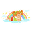 nice little redhead girl lying on her stomach on a vector image