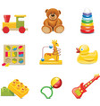 toy icons baby toys vector image vector image