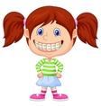 Little girl cartoon with brackets vector image