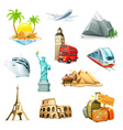 Travel set of icons vector image vector image