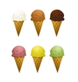 Set of six ice cream cone with different tastes- vector image