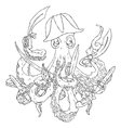 Angry pirate-octopus with arms Sword dagger vector image
