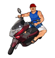 cartoon man in a helmet on a scooter vector image