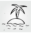 Hand drawn desert island palm tree and sea vector image