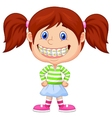 Little girl cartoon with brackets vector image