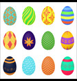 the ornamental colorful easter eggs variety vector image vector image