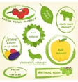 Set of farm labels vector image