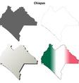 Chiapas blank outline map set vector image