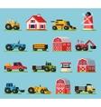 Farm Orthogonal Flat Icons Set vector image