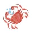 Hand drawing crab sealife crustacean food bubbles vector image