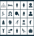 human icons set with ladder downfall user and vector image