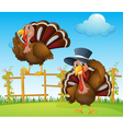A turkey above the wooden fence and a turkey vector image