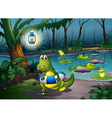 Alligators at the pond in the forest vector image