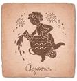 Aquarius zodiac sign horoscope vintage card vector image