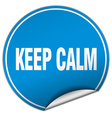 keep calm round blue sticker isolated on white vector image