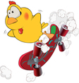 Chicken and skate board cartoon vector image