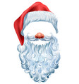 hat beard and red nose mask santa claus vector image