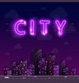 neon night city background cover retro vector image