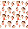seamless background with happy girl in red vector image