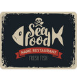 seafood restaurants with fish and jolly roger vector image vector image