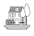 Line beutiful house with grid wood vector image