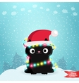 Merry Christmas greeting card with a black cat vector image
