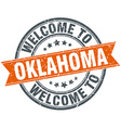 welcome to Oklahoma orange round ribbon stamp vector image