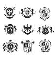 Heraldic coat of arms decorative emblems black set vector image