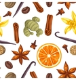 Seamless pattern with various spices vector image