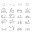 Buildings transport car and tree line vector image