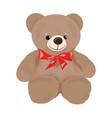 cartoon teddy bear with a red bow plush toy bear vector image