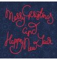 Cute xmas greeting card with red lettering vector image