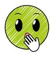 doodle amazed face gesture emoji expression vector image