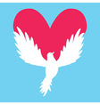 Dove Icon with Heart Shape Logo peace love vector image
